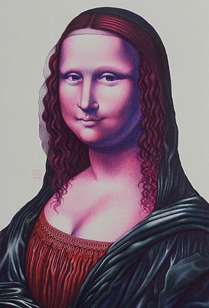 "Mona Lisa replicas and reinterpretations - Mona a'la Mace ballpoint ""PENting"" by Lennie Mace (1993)"