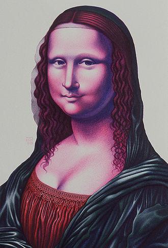 "Mona Lisa replicas and reinterpretations - Mona a'la Mace ballpoint ""PENting"" by Lennie Mace (1993)"