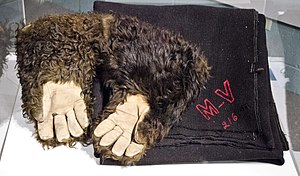 Animal fiber - Bison-hair gloves and a wool blanket used by a stagecoach company