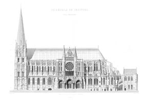 Chartres - South elevation, lithography 1864