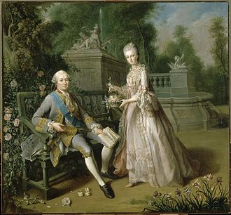 Chapelle royale de Dreux - The Duke of Penthièvre with his daughter the future Duchess of Orléans in circa 1768 by Jean Baptiste Charpentier le Vieux