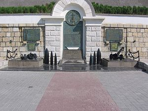Black Sea Fleet - Monument to Heroes of the Soviet Black Sea Fleet Squadron 1941–1944 in Sevastopol, featuring the list of 28 military ships that distinguished themselves in battles with Nazi invaders