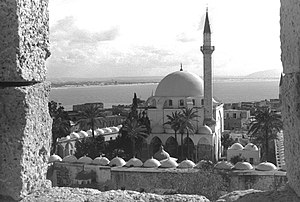 "El-Jazzar Mosque - Mosque of ""El Jaazar"" Pasha against Haifa bay, Acre. March 1959"