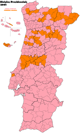 Portuguese presidential election, 2001 - Most voted candidate per municipality
