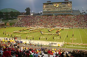 "Mighty Sound of Maryland - The Mighty Sound of Maryland forms the ""Block M"" formation in 2007 at Maryland Stadium (then Byrd Stadium)."