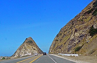 California State Route 1 - PCH passing Mugu Rock at Point Mugu