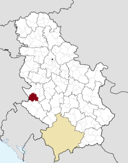Location of the municipality of Čajetina within Serbia