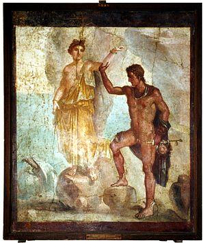 Andromeda (mythology) - A small Roman fresco from Pompeii