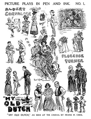 My Old Dutch (1915 film) - Illustrator Frank R. Grey sketched scenes from My Old Dutch for Pictures and The Picturegoer magazine (28 August 1915)