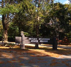 Myles Standish State Forest - Image: Myles Standish Sign