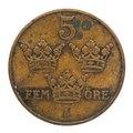 Mynt av brons åtsida, 1915. Fem öre - Skoklosters slott - 108660.tif