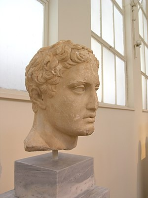 Stoa of Eumenes - Head from a Pentelic marble statue of the Ares Ludovisi type, c.330-310 BC, found in the Stoa of Eumenes