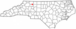 Location of East Bend, North Carolina