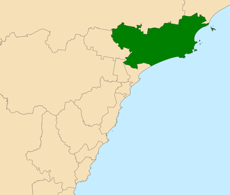 Electoral district of Port Stephens - Location in the Hunter Region
