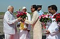 Narendra Modi being received by the Governor of Madhya Pradesh, Shri Ram Naresh Yadav and the Chief Minister of Madhya Pradesh, Shri Shivraj Singh Chouhan, on his arrival at Bhopal, in Madhya Pradesh on September 10, 2015 (1).jpg