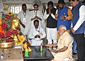 Narendra Modi paying respects to Dr. Babasaheb Ambedkar, at Chaitya Bhoomi, in Mumbai on October 11, 2015. The Chief Minister of Maharashtra, Shri Devendra Fadnavis and other dignitaries are also seen.jpg