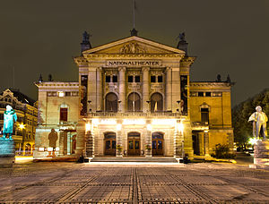 Nationaltheatret Oslo Front at Night