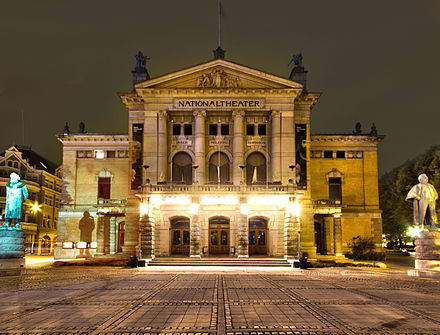 The National Theatre is the largest theatre in Norway Nationaltheatret Oslo Front at Night.jpg