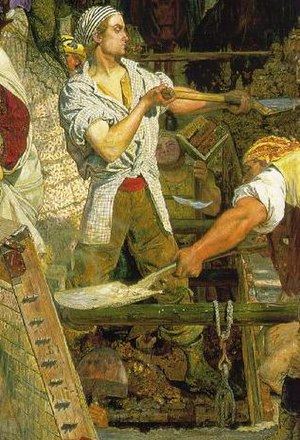 Work (painting) - The young navvy (shovelling soil) and the older navvy (sieving quicklime)