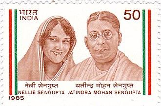 Jatindra Mohan Sengupta - Nellie and Jatindra Mohan Sengupta on a 1985 stamp of India