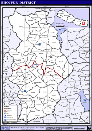Bhojpur District, Nepal - Map of the VDC/s in Bhojpur District