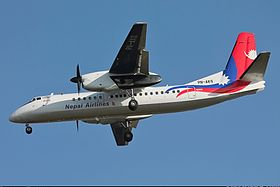 Nepal Airlines Xian MA60 in new livery on approach into Kathmandu.jpg