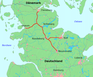 Neumünster–Flensburg and branches to Kiel and Husum