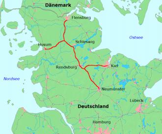 Neumünster–Flensburg railway - Neumünster–Flensburg and branches to Kiel und Husum