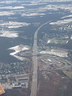 Aerial view of Exit 8 of the New Jersey Turnpike near Hightstown