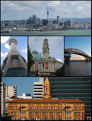 De supra maldekstro: Urbosilueto de Auckland City, Sky Tower, Urbodomo, Auckland Harbour Bridge, Ferry Building