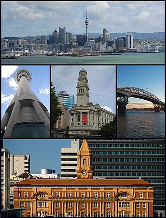 Auckland - From upper left: Skyline of Auckland CBD, Sky Tower, Town Hall, Auckland Harbour Bridge, Ferry Building