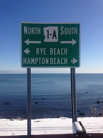 New Hampshire Route 1A - 1-A sign along Ocean Boulevard in North Hampton, New Hampshire