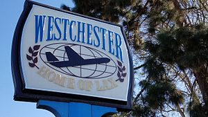 "Westchester, Los Angeles - ""Westchester, Home of LAX"" sign at Westchester Rec Center"