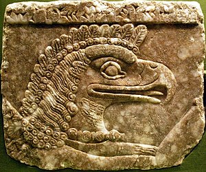 Apkallu - A bird-headed Apkallu on a relief at the palace of Ashurnasirpal II, collection of the National Museum in Warsaw