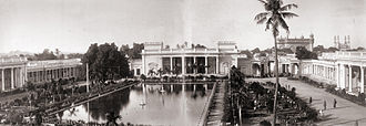 Chowmahalla Palace - Panoramic view in two parts of the Chowmahalla Palace at Hyderabad, photographed by Deen Dayal in the 1880s; the Charminar and Mecca Masjid are seen in the background (far right)