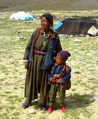 Changtang - Nomad mother and son. Changtang, Ladakh