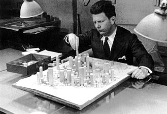 Norman Bel Geddes - Norman Bel Geddes with part of the Shell Oil City of Tomorrow. Photo: Frances Resor Waite c.1937.