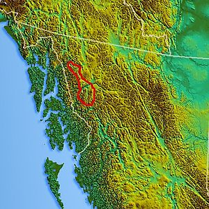 Tahltan Highland - Location map of the Tahltan Highland (estimated)