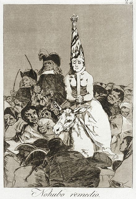 "Goya's drawing of result of a presumed witch's trial: "" [so she must be a witch]"" Nothing could be done about it LACMA 63.11.24.jpg"