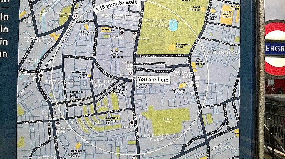 Notting Hill Royal Borough Of K&C Council Map Outlining the Official Area of Notting Hill and the Surrounding Areas 2018