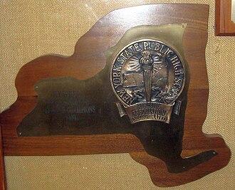 New York State Public High School Athletic Association - 1989 basketball championship trophy in East Hampton, New York