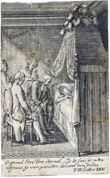 Deux hommes assis, deux femmes debout, l'une en pleurs, l'autre en prières, regardent une mourante dans son lit.