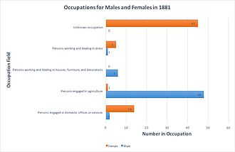 Beighton, Norfolk - Image: Occupations of males and females in 188 of Beighton, Norfolk
