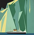 Ocean liner and glacier in art detail, Alaska via Canadian Pacific. Taku Glacier (3531517944) (cropped).jpg
