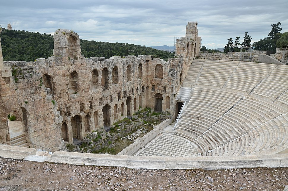 Odeon of Herodes Atticus, built in 161 AD on the south slope of the Acropolis of Athens in memory of his wife Annia Regilla, Athens, Greece (14006718245)