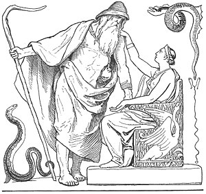 Vafþrúðnismál - A depiction of Frigg asking Odin not to go to Vafþrúðnir (1895) by Lorenz Frølich.