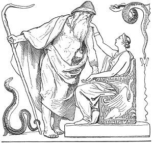 Vafþrúðnismál - A depiction of Frigg asking Odin not to go to Vafþrúðnir (1895) by Lorenz Frølich.