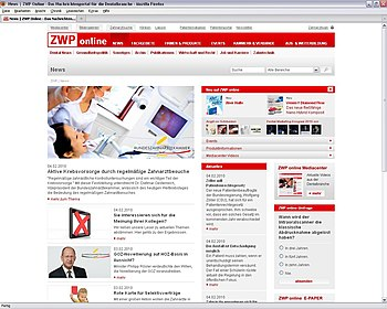 Deutsch: Screenshot ZWP online