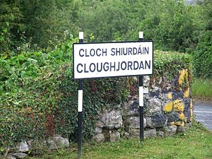 Cloughjordan - One of three signs around the village showing its name.
