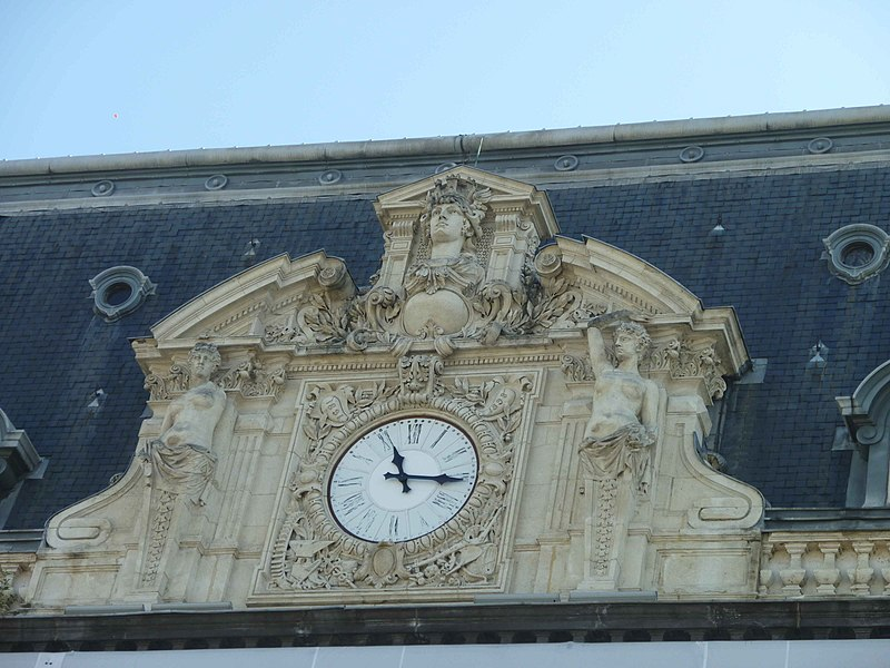 Detail of the municipal opera of Clermont-Ferrand (place de Jaude). The clock is on the front of the opera.